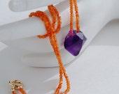 Amethyst Nugget and Carnelian Necklace. Single Strand Gemstone Choker.  Tangerine Carnelian & Amethyst Necklace