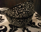 PORCELAIN CHINESE BOWL, black and white , embossed, noodles, rice, serving, party nibbles