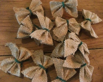 12 JUTE BOWS, natural, gift wrapping, crafting, wreaths, home decor, tree decor
