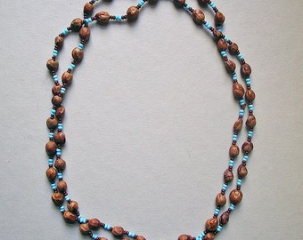 VIntage Southwest Native American Beaded Necklace - Blue