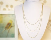 THREE LAYERED NECKLACE Gold 18k Vermeil, Multi Layers Necklace, Triple Chain, Minimalist Jewelry