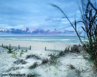 Beach Photography, fine art sand dune print, ocean sunrise, Assateague Island, Blue wall art