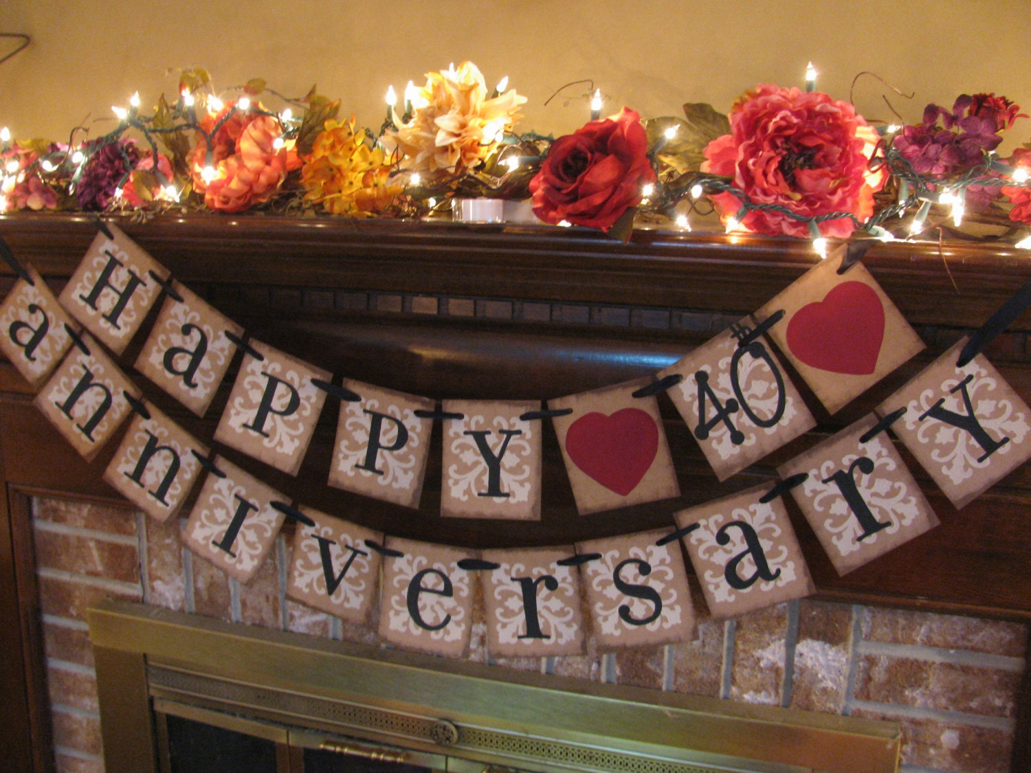 ruby wedding anniversary 40th banner sign by. Black Bedroom Furniture Sets. Home Design Ideas