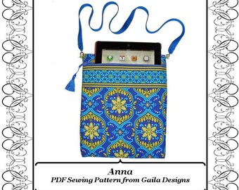 """PDF Sewing Pattern iPad 1 2 3 4, Air 1,2, iPad Pro 9.7"""", tablet, Kindle Fire HD 8.9"""" cover with zipper, lined, padded, shoulder strap """"Anna"""""""
