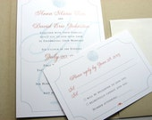 Beach Wedding Invitation Pocketfold Blue Sea Shell Ocean Red-Orange Traditional Custom Raffia Wrap Recycled Pocket