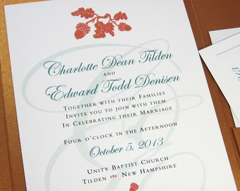 Autumn Wedding Invitation Pocketfold Elegant Acorn Oak Leaf Fall Rust Traditional Script Initials Copper Pocketfold Custom Invite