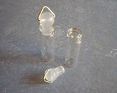 Clear Glass Bottles with Rubber Stoppers & Metal Bail - 2 inches Tall - Pendant Style Bottles - Hanging Glass Bottles - Qty 2