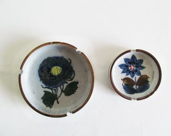 Vintage Cute Blue and Brown Floral Ashtray