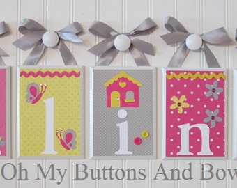 Name Letters Nursery Blocks Room Decor Baby Hanging