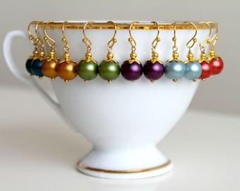 Little Colorful Dangle Earrings, Petite Gold Earrings
