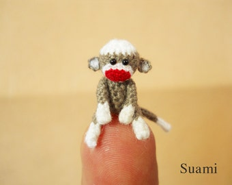 0.8 Inch Tiny Sock Monkey - Mini Amigurumi Miniature Crochet Stuff Animals - Made To Order