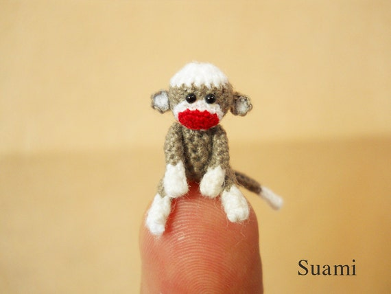 0.8 Inch Tiny Sock Monkey - Mini Amigurumi Miniature Crochet Stuff Animals - Made To Order