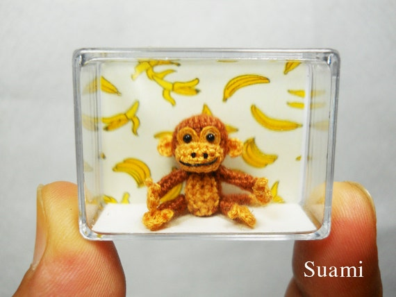 Tiny Brown Monkey - Dollhouse Miniature Animals - 1 inch Scale Crochet Monkeys - Made To Order