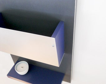 IPAD MAIL BIN with Key Hooks and Shelf, Wall Mount Wood and Metal Storage Unit for Home, Office and Dorms.