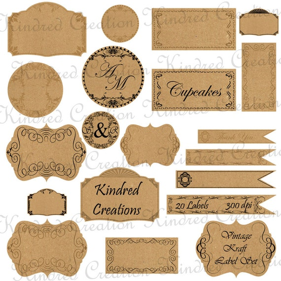 Vintage Kraft Paper Labels Monogram Tags Circle Frame