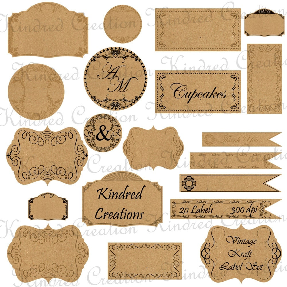 Fan image with kraft paper tags printable