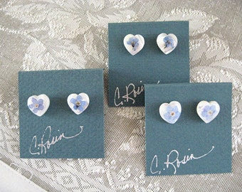 Girls Gift Forget Me Not Heart Earrings Girls Jewelry Bridesmaids Wedding Jewelry