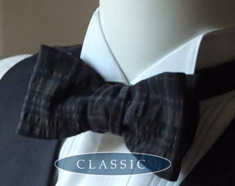 Bow Tie - men's - made in a brown and black seersucker fabric, freestyle bowtie for men