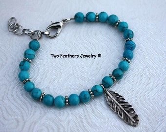 Turquoise Bracelet With Silver Feather - Turquoise And Silver - Feather Jewelry - Boho Feather Bracelet - Beaded Bracelet - Two Feathers