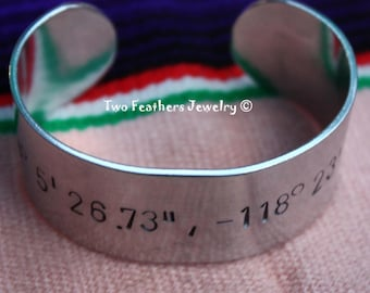 Latitude Longitude Hand Stamped Cuff Bracelet - Personalized Cuff - GPS Coordinates - Wide Metal Cuff - Message Bracelet - Two Feathers