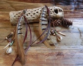Ethnic Feather Earring// Lady Amherst Pheasant Tai feather, Natural brown, Tribal, African Beads, Ethnic, Bohemian, Hippie