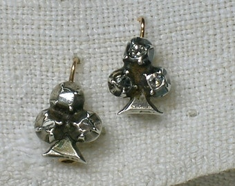 Regency Earrings, Petite Silver & Diamond Clubs, English circa 1800 to 1820