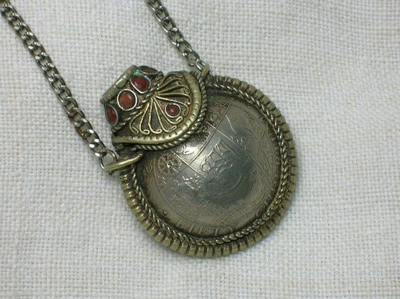 Vintage Necklace Tibet Bhutan Coin Bottle Pendant