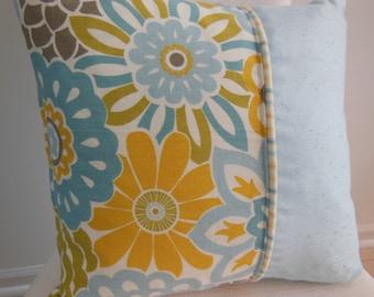 Summer Pillow - Blue Pillow - Yellow Pillow - Flower Pillow - Stripe Pillow - Dusk Blue Spring Flower Pillow - Reversible 15 x 15 Inch