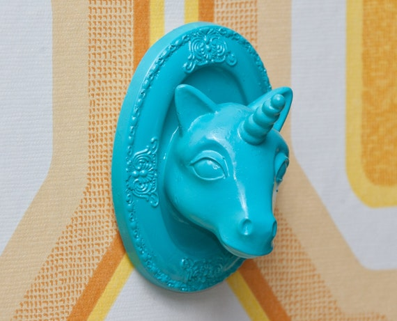 Unicorn Jewelry Display / Wall Art  -  Blue Coral