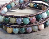 Faceted Fancy Jasper Double Leather Wrap Bracelet with Hammered Flower Button