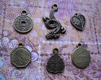 Bronze Tone Chinese Charm Collection - C1416