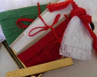 Seam Binding Lace Supplies Craft Pack in Vintage Santa Tin Red White Green Gold