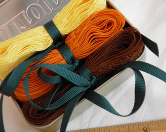 Trim Seam Binding Craft Kit - Fall Tones Orange, Yellow Gold, Brown, Green Fun Supplies for DIY Projects in Altoids Tin Container