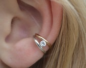 Classic Double with CZ Ear Cuff - Sterling Silver,14K Gold Filled or Mixed Metals  - SINGLE Side