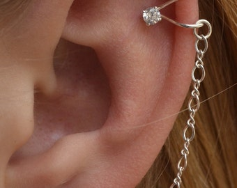 Gold Filled CZ Cartilage Wrap Ear Cuff with a Chain to Ball Post with an extra ball post