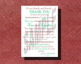 Custom Designed Destination Wedding Thank You Card