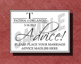 Printable Wedding Advice Mad Libs Sign
