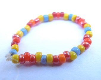 Vintage Multicolored Seed Bead Ring Thumb Single Strand Yellow Red Orange Blue Colorful Jamaican Caribbean Hippie Unisex Stackable Size 9.5