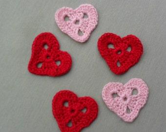 Crocheted Applique Hearts