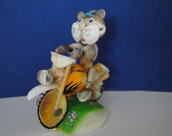 Sea Shell Seashell Motorcycle Cat  Figurine