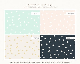Random Polka Dot repeating web backgrounds & digital papers for Personal, Small Commercial or Photography use Instant Download