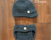 Crochet Hat Pattern - Newborn Newsboy hat AND Diaper Cover