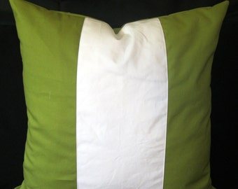 Olive green white center Duck Canvas pillow cover 24 X 24