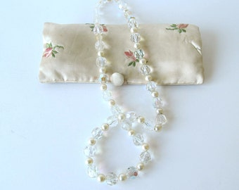 Vintage Art Deco Crystal and Pearl Necklace