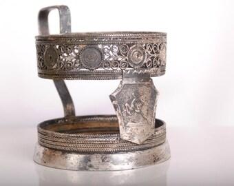 Vintage Russian Soviet Filigree PODSTAKANNIK Tea Glass-Holder USSR - GAZ Gorky -