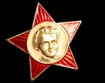 Soviet Little Octobrist Pin Back Badge for Collection with Young Lenin bust