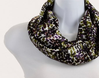 Short INFINITY scarf Satiny Green Purple White Black Geometric Design  ~ SK081-S5