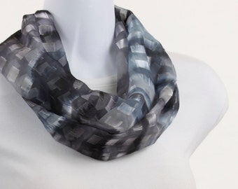 Circle Scarf - Steel Blue Gray Burnout GOLD THREAD ACCENT Infinity Scarf ~ SH069-S5