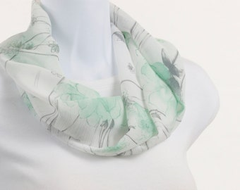 Crepe Scarf White, Gray and Mint Green short Floral INFINITY scarf by neckstyles ~ SH070-S5