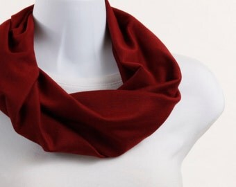 Garnet Infinity Scarf - Short Oxblood, Cranberry, Red Knit ~ K052-S1
